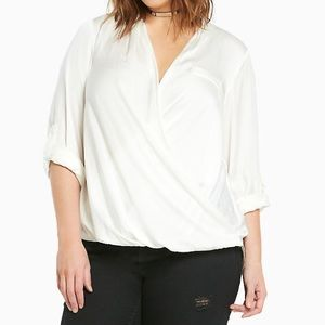 Torrid Satin Surplice White Blouse